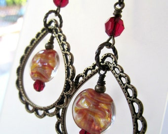 Red and Yellow Swirl Lampwork and Crystal Chandelier Niobium Earrings