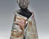 Standing Buddha in Lustrous Raku Ceramics Copper Red Blue by Anita Feng