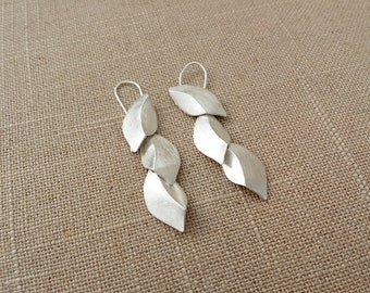 Sterling Silver Hanmade, Elm Leaf Earrings III
