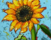 Floral painting 237 12x12 inch original still life sunflower oil painting by Roz
