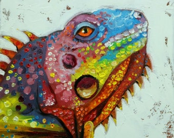 Lizard 6  12x12 inch original oil painting by Roz