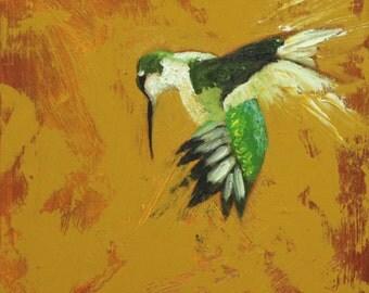 Bird painting 225 Hummingbird 12x12 inch portrait original oil painting by Roz