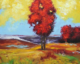 Landscape painting 262 20x20 inch original impasto impressionistic oil painting by Roz