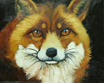 Fox painting 34 12x12 inch original animal portrait oil painting by Roz