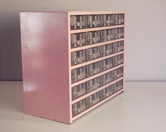 Vintage Pink Metal Chest Industrial Storage Container 24 Drawer Box Hardware Crafts Garage Organizer Utility Cabinet Man Cave Decor