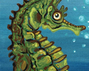 ACEO Seahorse Original Painting Marine Art-Carla Smale