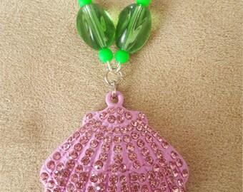 Pink Princess Seashell Rhinestone Necklace