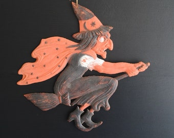 Antique Halloween Embossed Diecut Witch on Broom Pressboard Germany :  Small Crease at Wrist reflected in Pricing