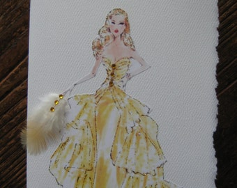 Golden Barbie Vintage fashion illustration note card