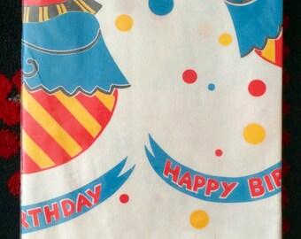70s Clown Birthday Paper Tablecloth