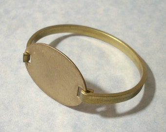 Solid Brass Oval Latch Top Engravable Cuff Bracelet Blank 7 inch