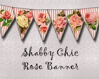 Pink Stripe RoSES-Banner -Shabby Chic ViNtAgE ArT Pennants/Bunting- Printable Collage Sheet JPG Digital File--New Lower Price