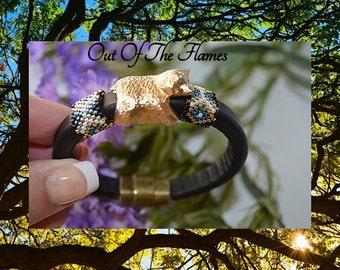 Licorice Leather Bracelet  - Bear