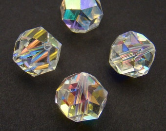 4 pcs vintage clear crystal AB beads, Swarovski article 371, round faceted 11mm