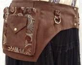 Brown ultrasuede festival belt - desert festival utility belt - steampunk pocket belt - plus size utility belt - Extra Large