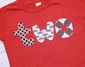 Boys Red and Gray Trucks Birthday Shirt - TWO for 2nd Birthday - Size 2 heather red short sleeve