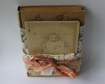 Apricot Jam Altered Vintage Book with Original Baby Cabinet Card, antique laces, and sari ribbon