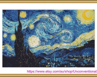 The Starry Night cross stitch pattern - xstitch Vincent van Gogh