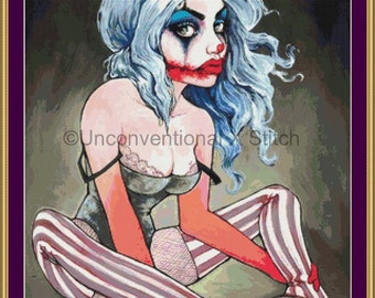 Sad carnival clown girl cross stitch pattern - Our Doors are Always Open - joker themed