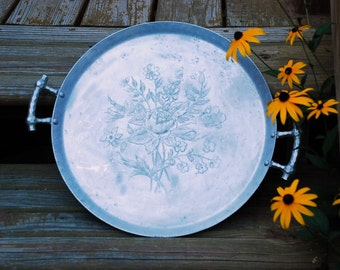Handsome Hand Forged Everlast Rose & Wildflower Aluminum Serving Tray