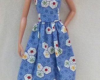 "11.5"" Fashion doll Handmade dress Blue"