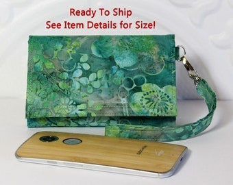 Cell Phone Wallet Wristlet Case READY TO SHIP / Fits iPhone 5 or 6, Galaxy S4 and More / Size Lg / Aqua Green Floral Batik