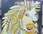 ORIGINAL 'Long Locks Lion' lion painting 6x7in  by Jennifer Mercede