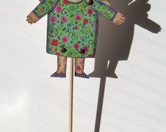 adult paper craft cut out  paper doll angel fairy puppet diy mixed media folk art home decor fun silly quirky woman
