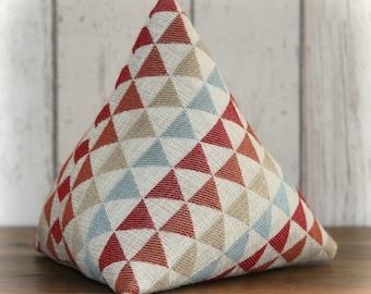Fabric Doorstop, Doorstopper in Red, Blue and Beige Triangular Print Fabric, Triangular, Pyramid Shape