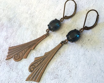 Art Nouveau Earrings Cobalt Crystal vintage gems scroll charms Victorian Gothic Jewelry
