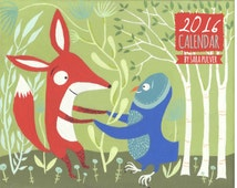 "2016 Wall Calendar by Sara Pulver with Cats, Dogs, Owls, Fox, Pugs - 11""x17"" Spiral Bound Whimsical Animal Outsider Folk Art Organizer"