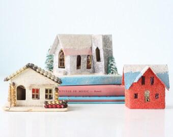 Vintage Christmas Houses, set of 3