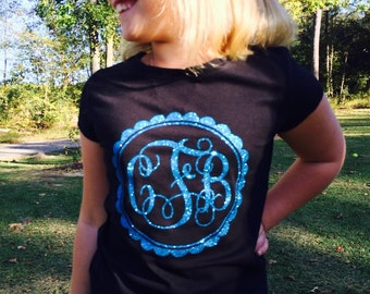 Girls Monogrammed Shirt - Fancy Script with Scalloped Boarder  now available in white, pink, and black