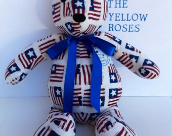 "US Flag Teddy Bear handmade 17"" Patriotic Bear Custom order available Read entire description before ordering"