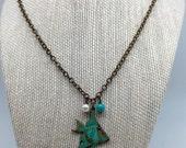 Patina Angel Fish Necklace