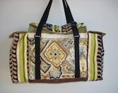 Deluxe Knitting/Crochet Tote Bag/Project Bag/Two Pocket Yarn Organizer/Handmade Tapestry Knitting Bag- DESERT GARLANDS