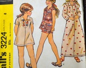 Vintage Sewing Pattern McCall's 3224 Girls' Dress or Pullover Top size 8  Uncut Complete FF