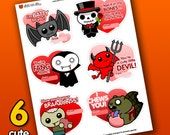 INSTANT DOWNLOAD Printable Valentine Cards PDF - Cute Horror Designs | Valentine's Day | Bat Zombie Vampire Devil Skeleton | Sick On Sin
