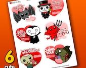 INSTANT DOWNLOAD Printable Valentine Cards PDF - Cute Horror Designs   Valentine's Day   Bat Zombie Vampire Devil Skeleton   Sick On Sin