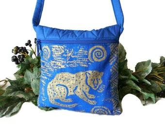 Leopard Cross Body Bag , Small Crossbody Bag , Painted Leopard Print Purse , Blue and Gold , Womens Handbag