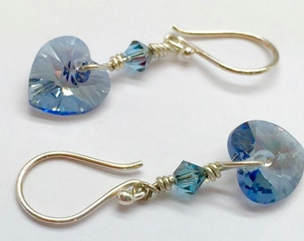 Muted Blue Crystal Heart Earrings