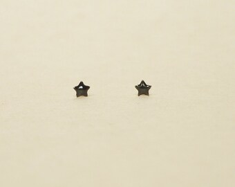 3 mm Tiniest Black Star 925 Sterling Silver Stud Earrings,cartilage earring,hypoallergenic earrings,second hole earrings,upper ear