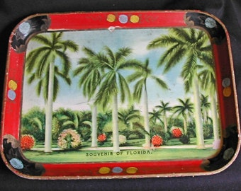 1940s Old Florida Paper Mache Souvenir of Florida Serving Tray Palm Trees Great Color and GraphicsMIJ