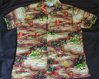 Men's Vintage Cotton Hawaiian Shirt Palm Trees Hawaiian Canoes Stunning Colors