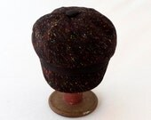 Women's Newsboy Hat in Black Wool with Multicolored Flecks and Black Faux Suede Accents : Womens, Girls Hats, Gift for Her, Cute Newsboy Cap