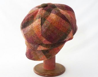 Women's Newsboy Hat in Jewel Toned Plaid Wool with Faux Suede Accents: Womens Hats, Fall Fashion, Newsboy Cap, Peach, Olive, Ruby, Garnet