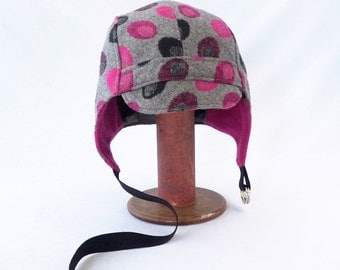 Aviator Hat in Gray Wool with Hot Pink and Black Oblong Dots - Womens, Kids Hats, Polka Dot, Winter Hat, Warm Cycling Hat, Geometric Design