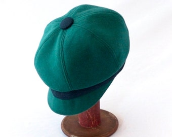 Wool Newsboy Hat in Vibrant Turquoise with Prussian Blue Faux Suede Accents : Womens, Girls Hats, Retro Style, Cute Cap, Spring Fashion