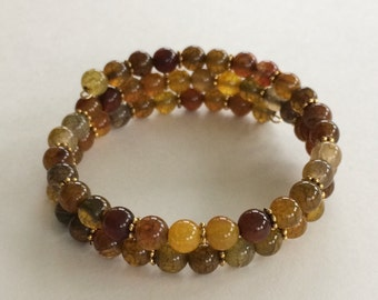 Dragon vein agate bead memory wire bracelet - Gold Brown Amber Green