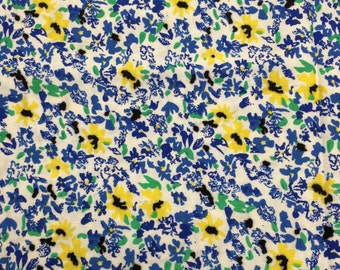 Flowers on white fabric - 35 inches x 43 inches - blue black yellow